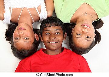 Three teenage friends having fun - Three teenage friends...