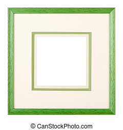 Green picture frame with matte - Modern style green wooden...