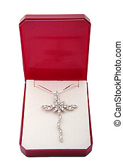 Silver necklace with cross made of diamonds in a box,...