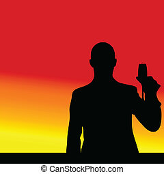 man toasts black silhouette
