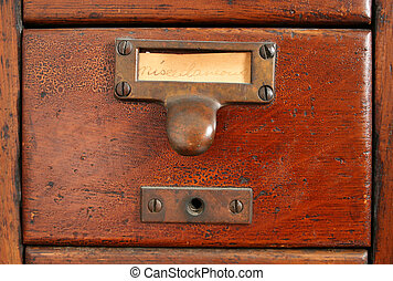 old card catalog drawer - old wooden card catalog with brass...