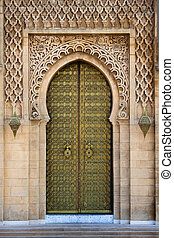 Royal entrance to the mosque in Rabat, Morocco