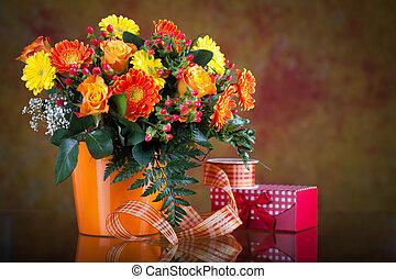 rosas,  gerberas, ramo