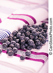 huckleberries - the huckleberries on the towel, a close up...
