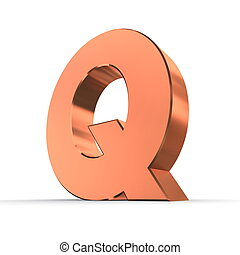 Shiny Letter Q of Bronze/Copper - shiny 3d letter Q made of...