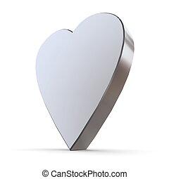 Solid Shiny Metallic Heart - shiny metallic 3d heart of...