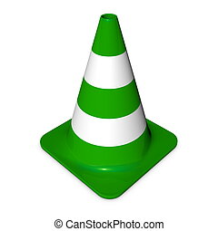 Traffic Cone - Shiny Green - single traffice in 3d with...