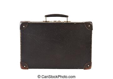 Old retro-styled travel suitcase isolated on white background