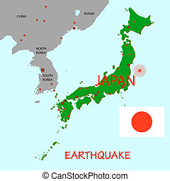 Japan map with epicenter of strong earthquake