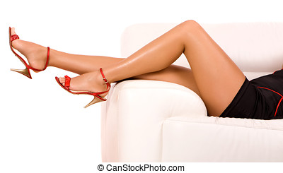 woman legs - Attractive woman legs on high heels isolated on...