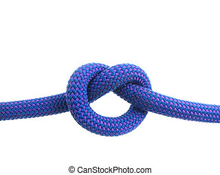 overhand knot in climbing rope - overhand knot tied in blue...