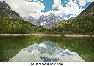 Slovenian Alps - Panoramic view of the Jasna Lake and...