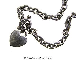 heart charm bracelet - old worn silver heart charm bracelet...