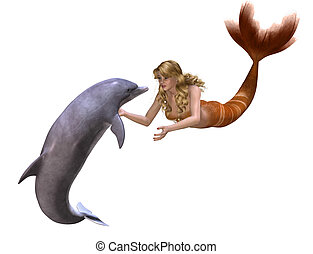 Dolphin And Mermaid - A beautiful mermaid greets a friendly...