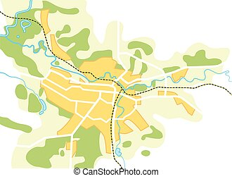 Simplified Vector Map of The City - Vector Map of The City...