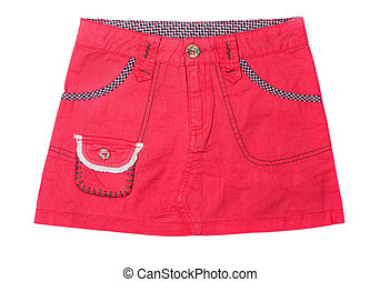 Mini skirt - Pink denim mini skirt isolated isolated on...