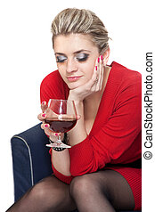 Woman in Red with wine glass