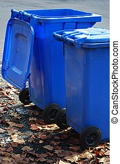 Garbage cans - Blue garbage cans on the side of the road
