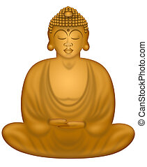 Zen Buddha in Sitting Position - Zen Buddha in Sitting Lotus...