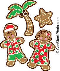 Tropical Christmas Cookies - Vector Illustration of tropical...