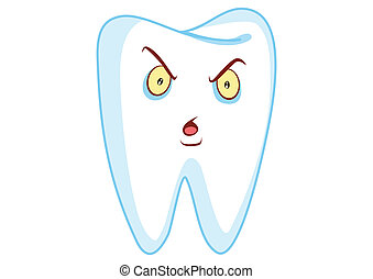 Angry Tooth Cartoon Character Illustration in Vector