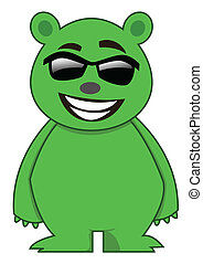 Sunglass Bear Cartoon Character Illustration Isolated White