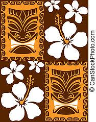 Seamless Tiki Tiles - Illustration of a seamless Luau Tiki...