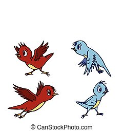 Assorted Cute Bird Illustration in Vector - Assorted Cute...