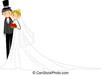 Newlyweds - Illustration of Happy Newlyweds Standing Side by...