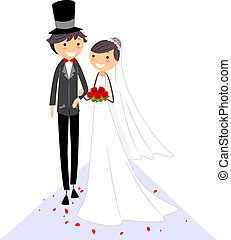 Wedding Aisle - Illustration of a Bride and Groom Walking on...