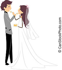 Wedding Cake - Illustration of Newlyweds Sharing a Slice of...