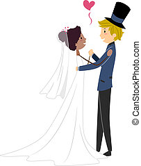 Interracial Wedding - Illustration of an African Bride and a...