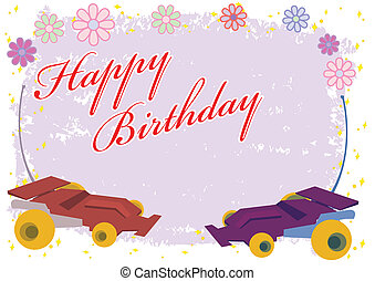 Happy Birthday Remote Control Car Illustration in Vector