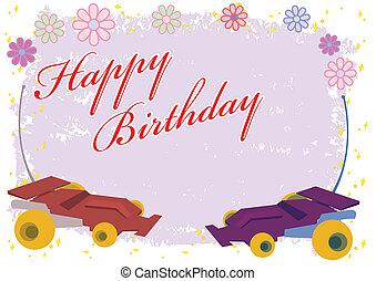 Happy Birthday Remote Control Car Illustration in Vector