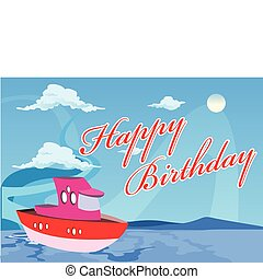Happy Birthday Boat Illustration in Vector