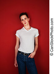 Young Man with Hand in Pocket - Retro-looking young man with...