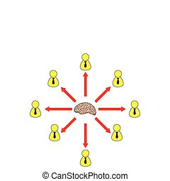 Employee Brainstorming Distribution Circle Illustration in Vector
