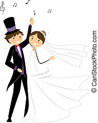 Wedding Dance - Illustration of Newlyweds Performing a...