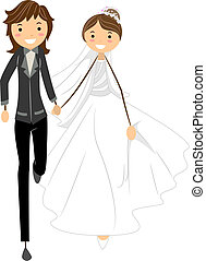 Lesbian Wedding - Illustration of a Lesbian Couple on the...
