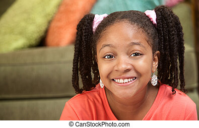 Happy African-American Child - Happy African American girl...