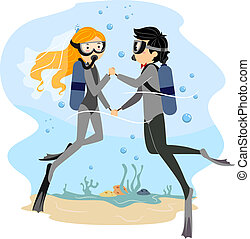 Underwater Wedding - Illustration of a Couple Having an...