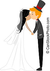 Wedding Kiss - Illustration of a Newlywed Couple Sharing a...
