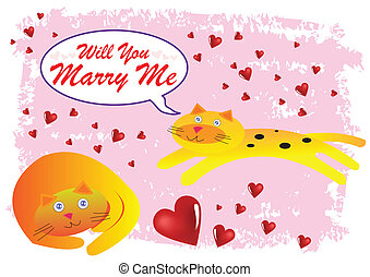 Cat Will You Marry Me Illustration in Vector