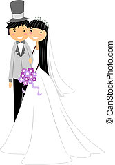 Asian Newlyweds - Illustration of a Newlywed Asian Couple