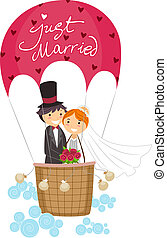 Just Married - Illustration of Newlyweds in a Hot Air...