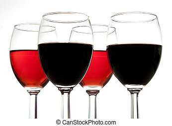 Four Glasses of Wine - Looking up at 4 glasses of wine
