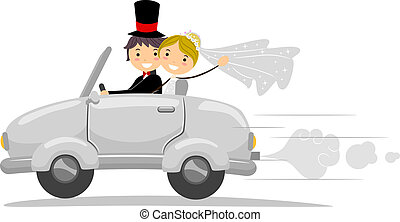 Wedding Car - Illustration of a Newlywed Couple Driving Away