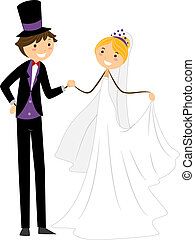 Wedding Dance - Illustration of a Newlywed Couple Doing a...