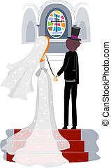 Church Wedding - Illustration of a Newlywed Couple in a...