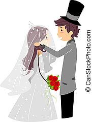 Wedding Veil - Illustration of a Groom Lifting His Bride's...